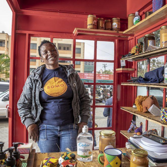 Photo: Sven Torfinn for Argidius, July 2020, Nairobi, Kenya. SOMO DUKA, a small shop in Kilimani, an upmarket area in Nairobi, where they sell products created by entrepreneurs.